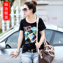 Han Yue Liang Sang summer new Korean yards tide was thin Slim t-shirt female fat mm large size t-shirt Ladies short sleeve