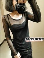 新春秋季女装透明网纱蕾丝拼接性感修身T恤休闲显瘦上衣打底衫