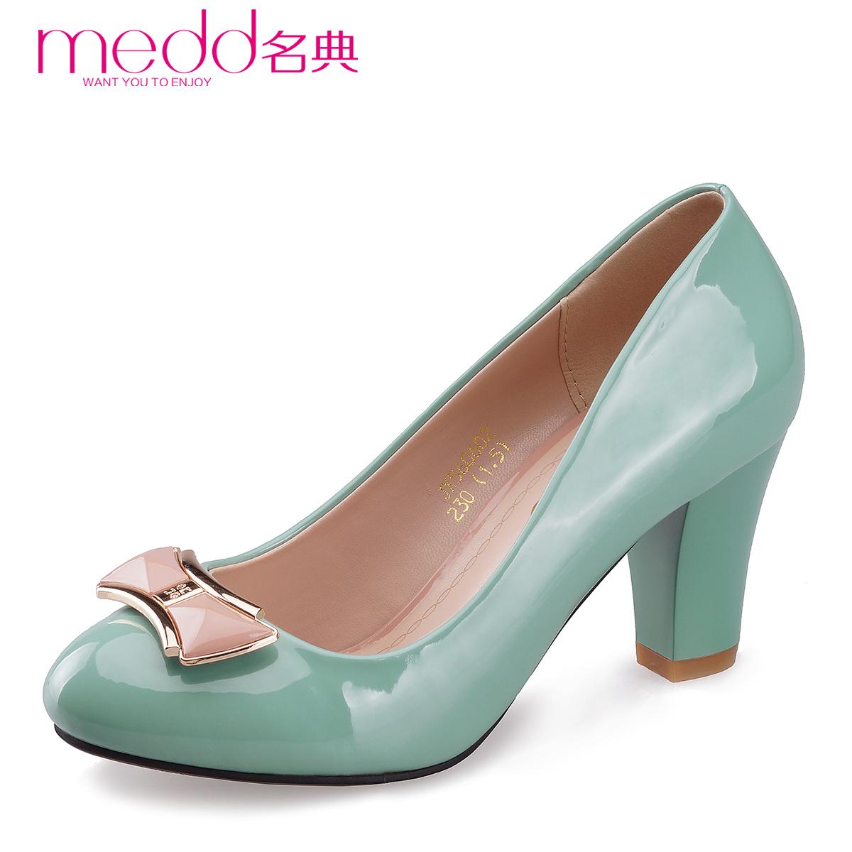名典女鞋2014年春季新款女单鞋蝴蝶结职业粗跟高跟跟女单鞋560602