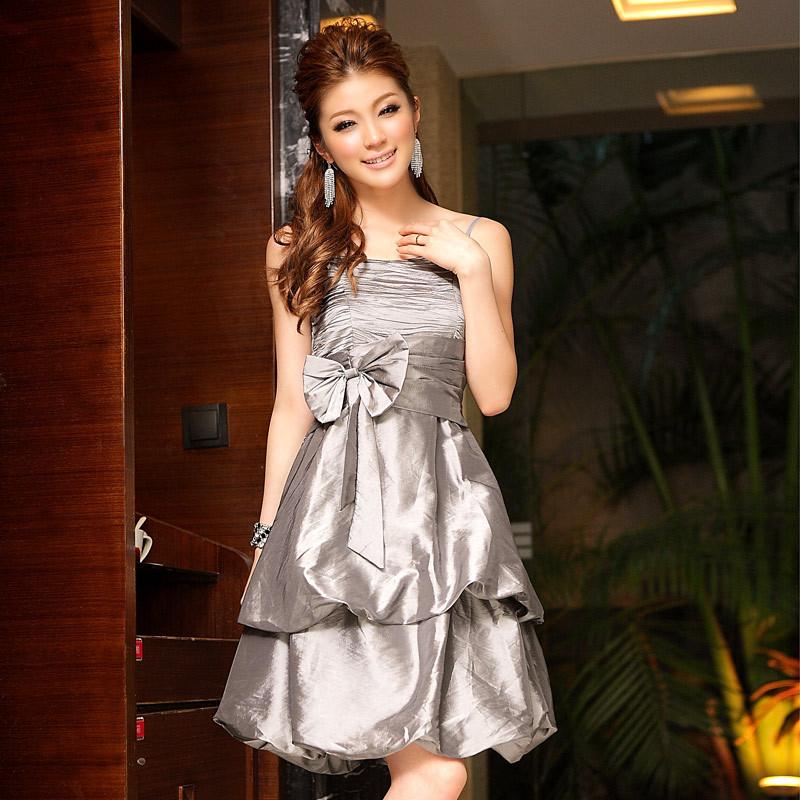 韩版 蝴蝶结蛋糕伴娘姐妹裙 晚会主持服装派对