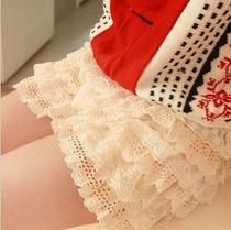3件包邮 日系VIVI松紧钩花镂空蕾丝花边 打底裤裙 蛋糕短裙裤 女