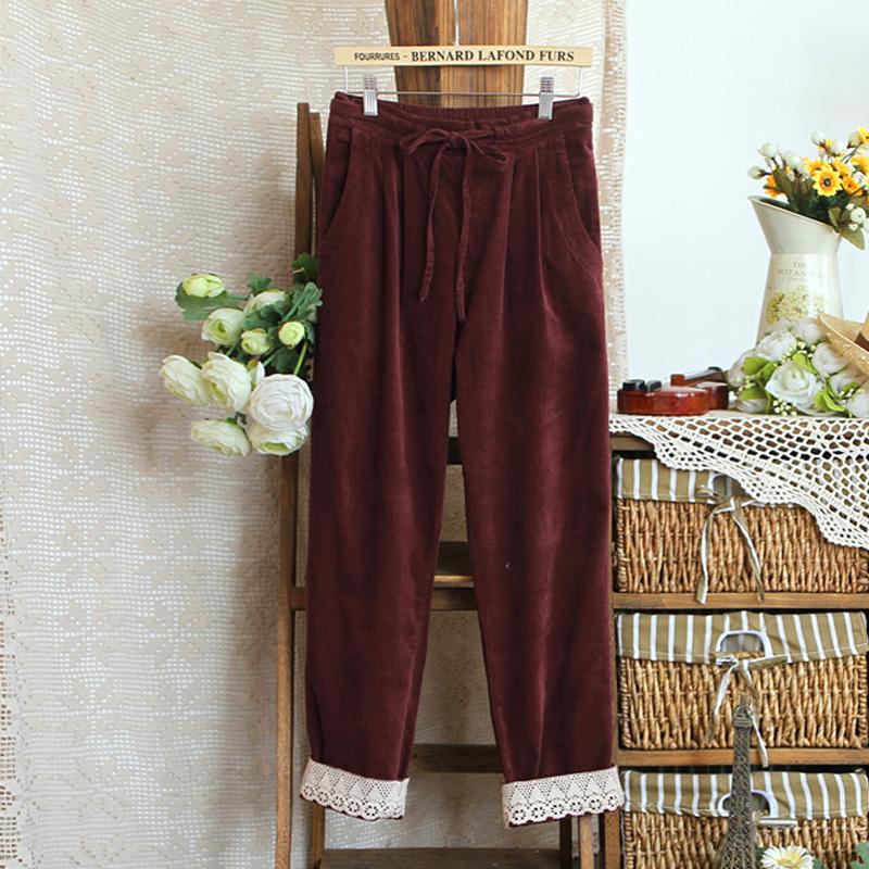 Женские брюки 2012 Длинные брюки Прямые Casual Другое Кружево