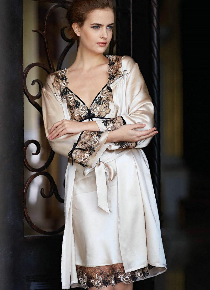 美标2014春夏女纯真丝桑蚕丝蕾丝花边吊带睡裙睡袍家居服两件套图片