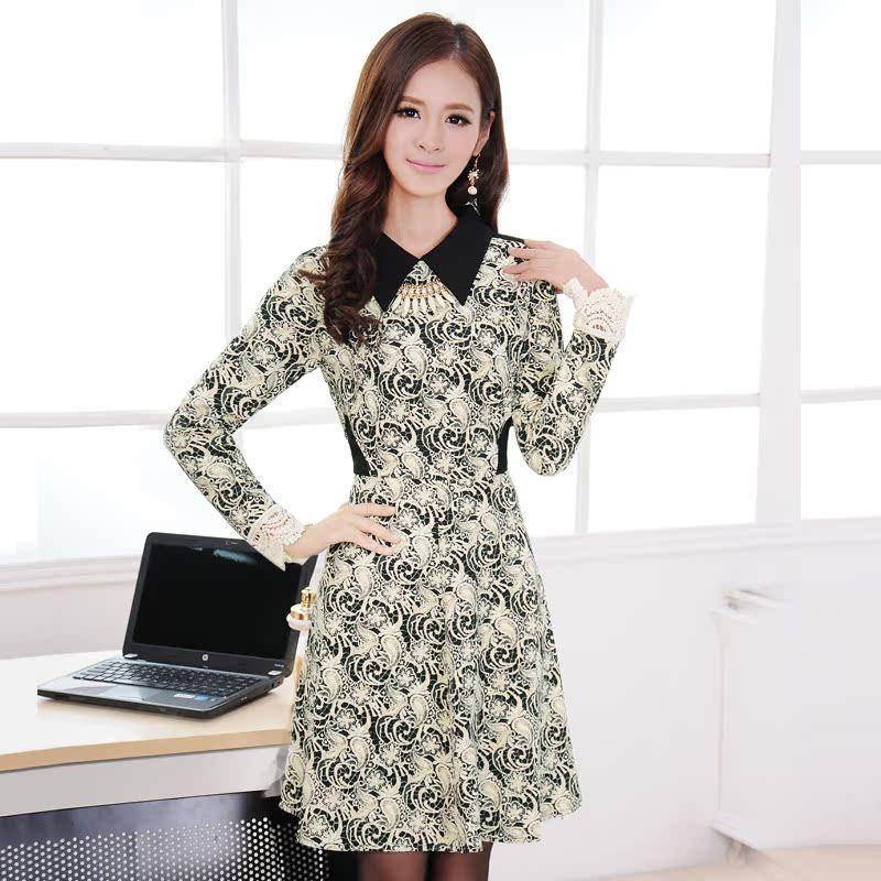 女士裙子品牌_秋冬新款修身气质裙子2013品牌女装翻领印花长袖连衣裙冬季A032