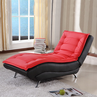 Bedroom single sofa bed features casual leather recliner sofa fabric folding couch small step simple European chaise longue