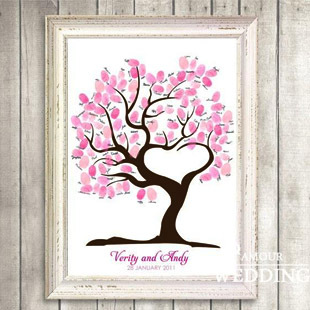 西式婚礼 指纹树 创意指纹 签到树 爱情树 嘉宾签名册 QDH-15