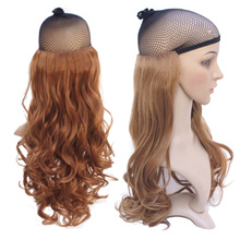 A yellow chip curly hair flaxen wig long curly hair big waves roll hair piece don't glance