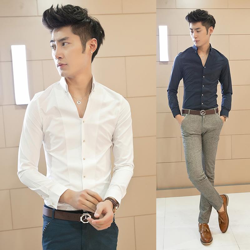 2014秋款男士衬衣韩版潮男士长袖衬衫男英伦立领白衬衫发型师衬衫
