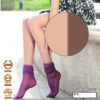 耐尔春夏新款提花水晶松口袜小菱格堆堆袜女短丝袜子水晶袜0490