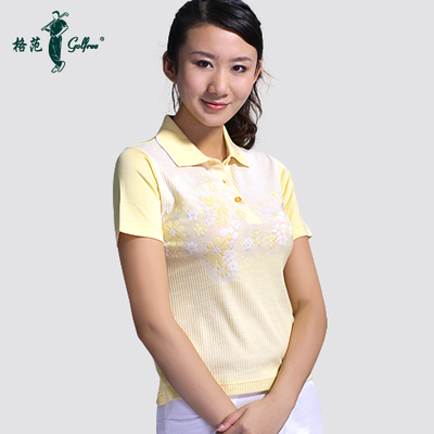 Mercerized Egyptian cotton short-sleeved women / Summer yellow jacquard T-shirts golf apparel Paradigm