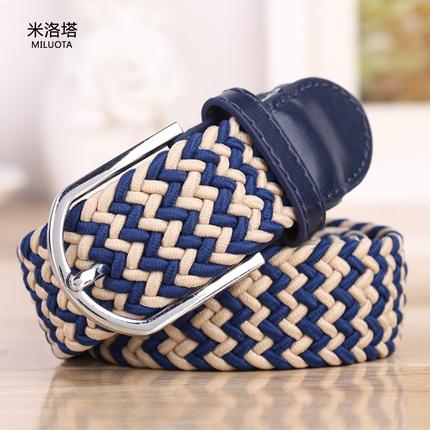 米洛塔 时尚编织松紧帆布腰带