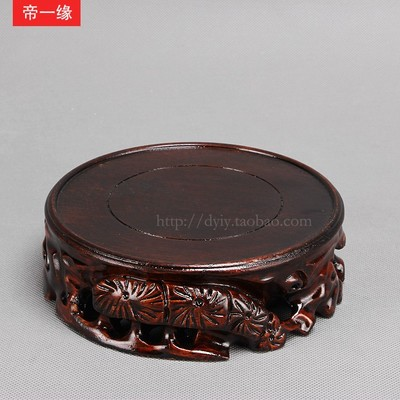 Carved stone vase grade wood pedestal base carved wooden ornaments crafts heightening thick circular base