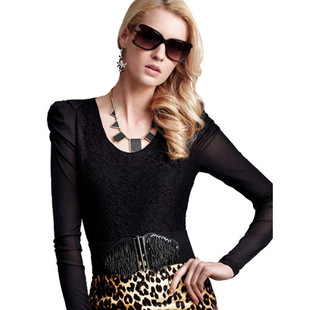 Dream Basha 2012 spring clothing styles of women's low collar lace long sleeve t-shirt, t-shirt at  end of 032012107