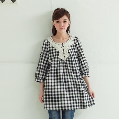 женская рубашка Feelnet s2965 Mm 2965 Повседневный стиль Укороченный рукав,рукав средней длины В клетку Лето 2012 Закругленный вырез