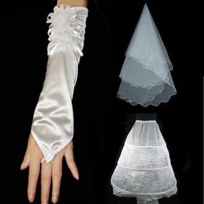 月月新娘 婚纱手套 新娘头纱 裙撑配件 婚纱配件 3件套002