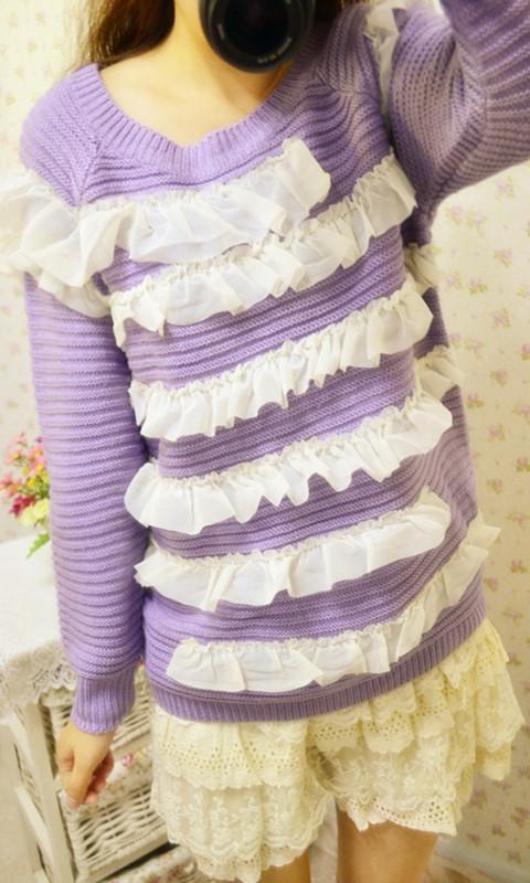 Свитер женский Сладкий и многослойных шифон Раффлед рукава трикотажные платья свитер