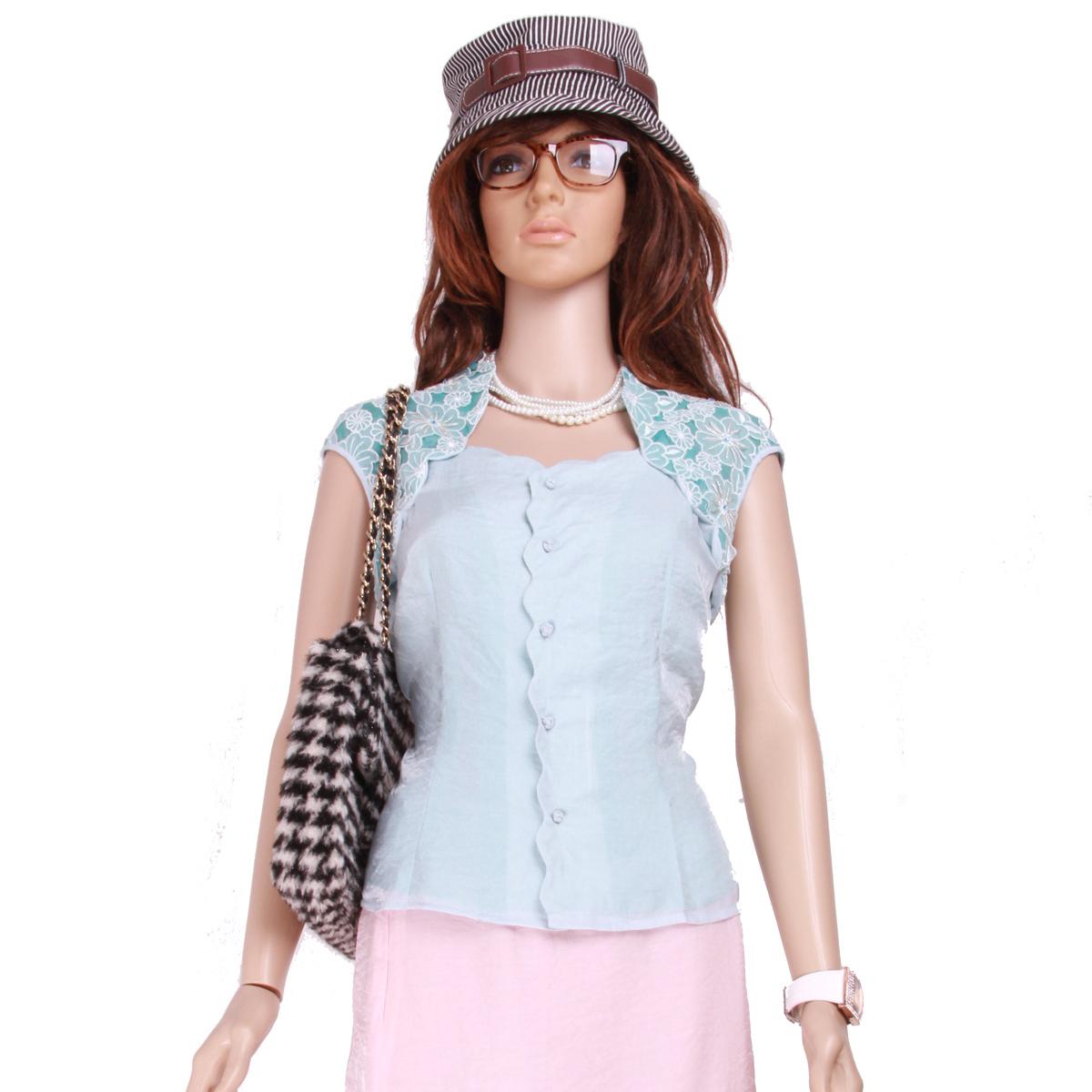 женская рубашка m28s014 Повседневный Короткий рукав Однотонный цвет Воротник-стойка