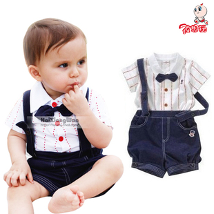 2012 Summer clothes new clothes baby clothes baby clothes baby boy star strap gentleman two piece suit