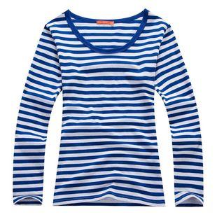 美特斯邦威女装长袖T恤 2014秋春款潮流女士纯棉海魂条纹圆领