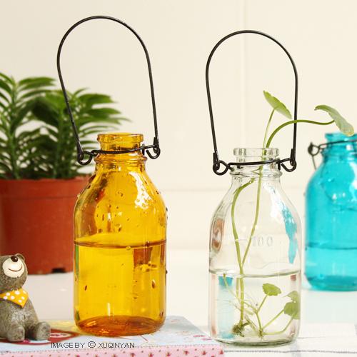 日式水培容器 玻璃挂瓶 可挂花器 吊花瓶 居家装饰zakka杂货 四色