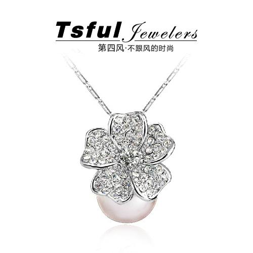 Tsful珍珠项链玫瑰之心 短款 衣服配饰 时尚高端珍珠饰品 包邮