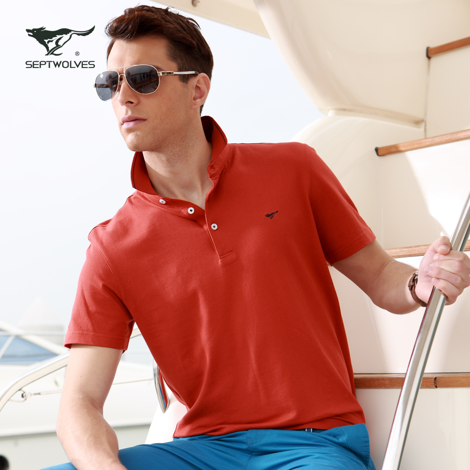 Septwolves Short sleeve T-shirt Summer wear the new color POLO man lapel mercerized cotton  Taobao Agent
