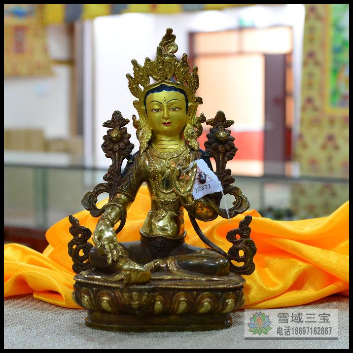 Изображения Будды, Статуи божества Буддийские поставок Будды 1 ' 33 см аутентичные Непальская половину золоченой меди статуя Будды зеленый Tara
