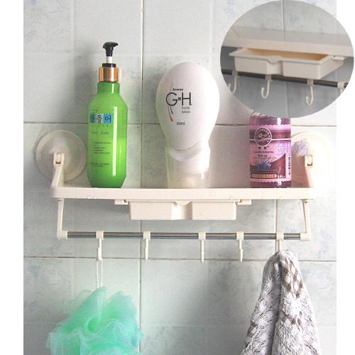 创意简易家具 厨房用品 一层一抽厨卫吸墙置物架(带挂钩)