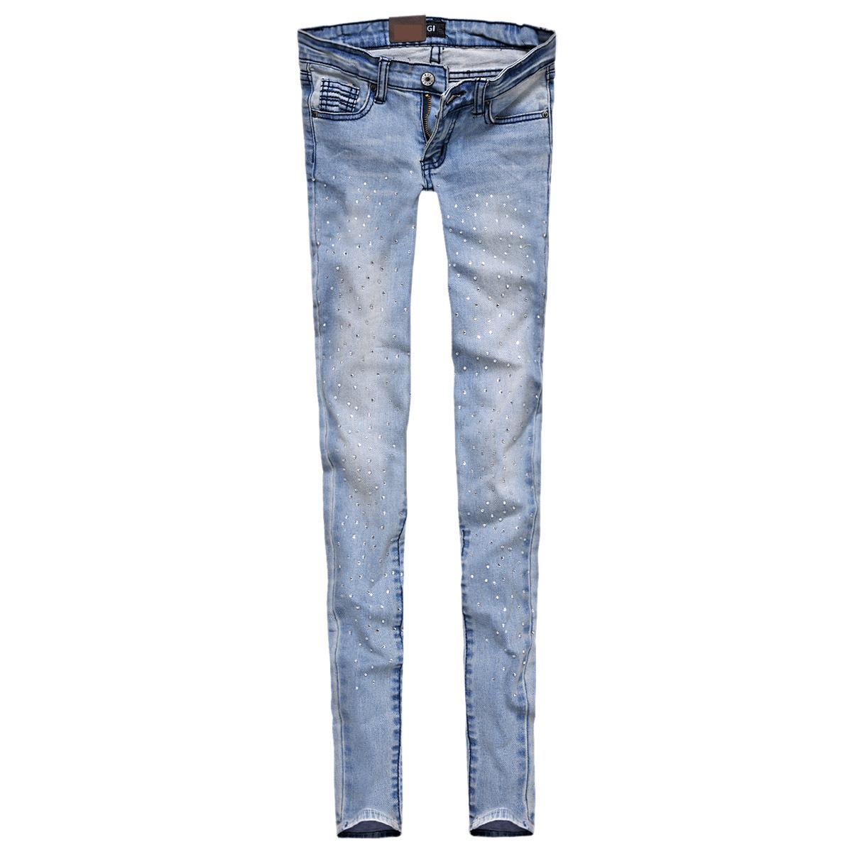 Джинсы женские Специальный Европейский Отдых джинсы Crystal бисером мягкие белые брюки с связанные ноги женщины 3536