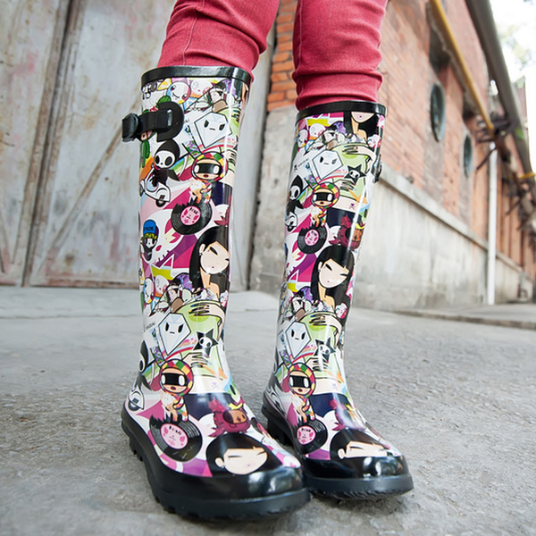 Tall jelly rain boots rain fall and winter fashion doll girl female boots ladies shoes overshoes water shoes rubber boots and velvet
