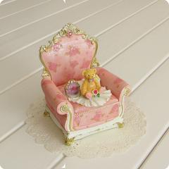 小熊沙发首饰盒玫瑰花欧式饰品盒树脂摆件工艺装饰