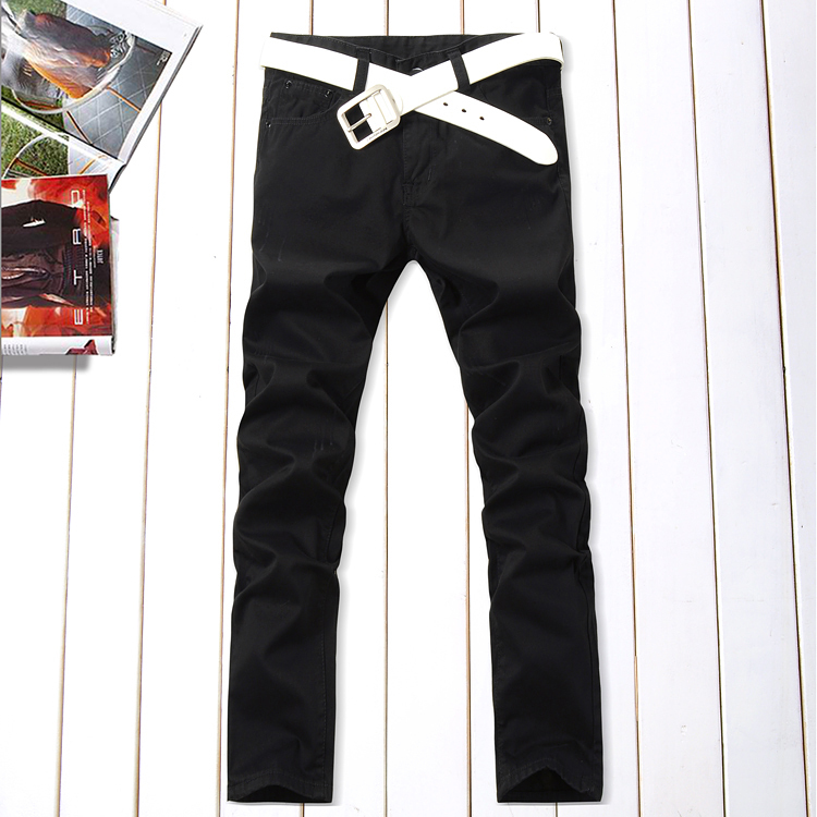 2012 autumn and winter new men's business casual the black bars flannel washing straight denim trousers jc901 specials