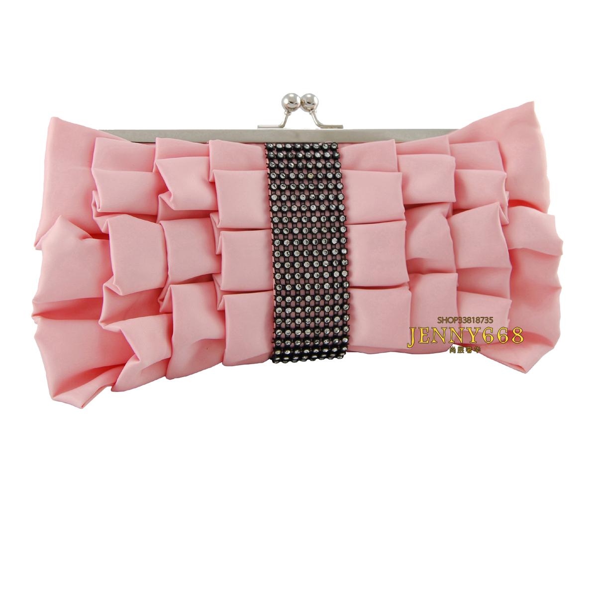 厚缎绸面蝴蝶结款镶钻粉红色宴会包手抓包晚宴包新娘结婚包晚装包