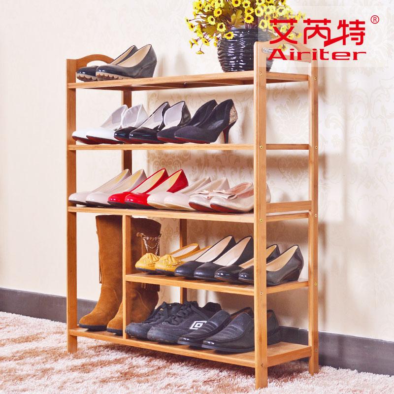 楠竹实用简易创意多层平板鞋架子创意实木竹防尘鞋柜特价包邮