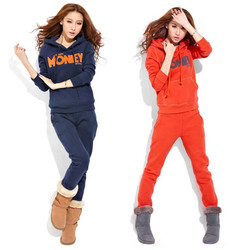 Korean style fashion thick fleece pullover hoodie hooded sports and leisure trousers suit