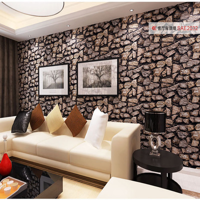 Simple fashion culture Stones rock alphabetical wallpaper living room bedroom den personalized clothing wallpaper