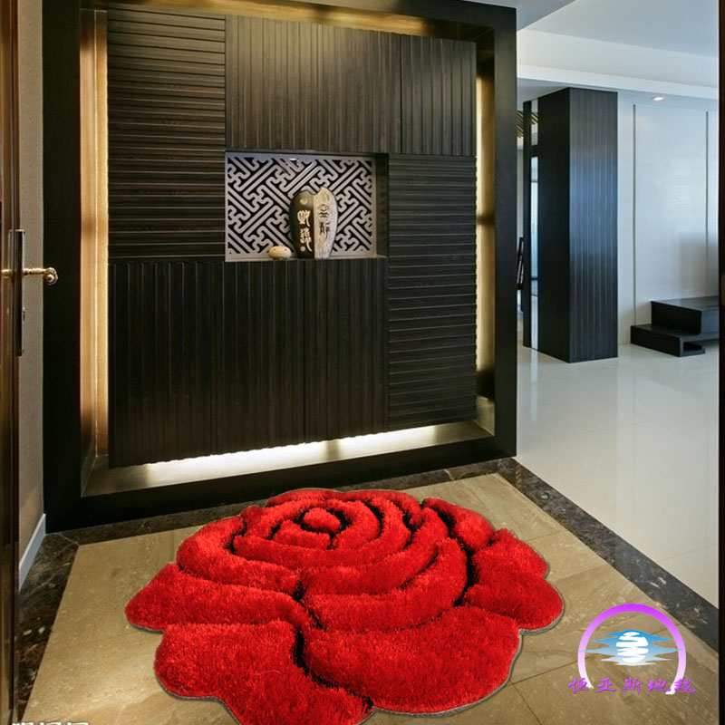 3D three-dimensional constant Ias carpet roses rug Korea 90*90 vestibule carpet fashion Chair blanket package mail