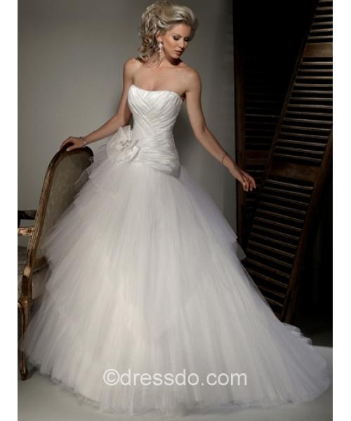 Свадебная диадема   White Ball Gown Floor-length Tulle Lace-up Wedding Dress