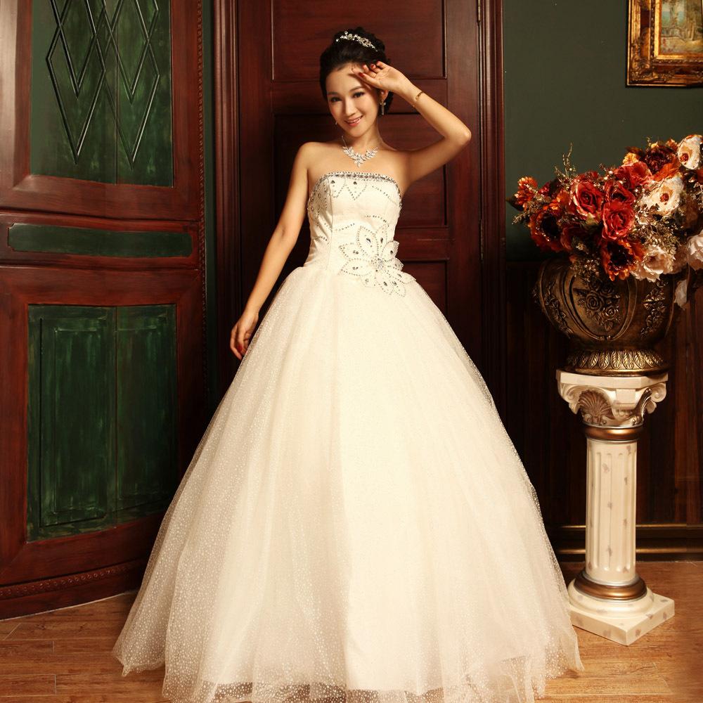 菲凡新娘 2012新款韩版新娘婚纱抹胸公主绑带齐地婚纱礼服ff00669