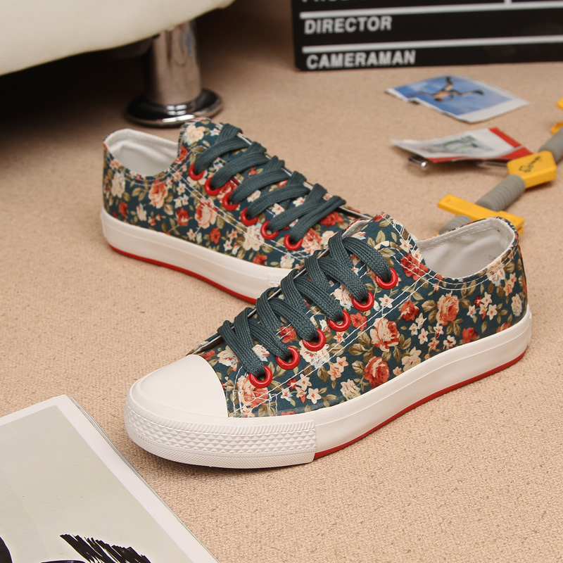 Korean version of the classic female models small floral canvas shoes to help low shoes summer essential pastoral style flat shoes small fresh