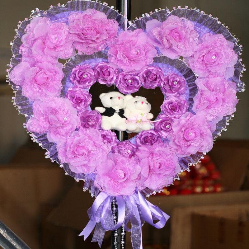 婚房布置装饰用品婚房装饰韩式装饰场景结婚布置 挂饰门饰壁饰紫