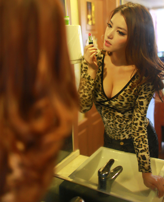 Low-cut leopard sexy V-neck long-sleeved t-shirt women bottoming shirt collar Slim low waist was thin in spring 2015 the new