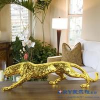 简约现代家居客厅装饰品摆件树脂工艺品招财金钱豹创意电视柜摆设