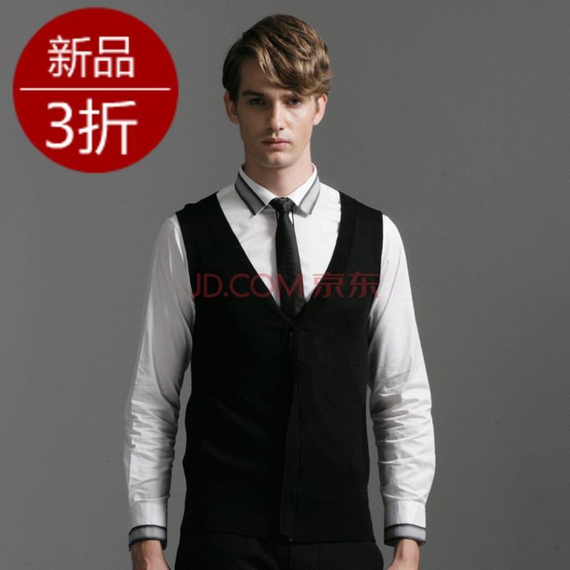 GXG 新款男士时尚衫休闲款针织背心/马甲#11130301 黑色
