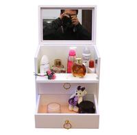 素雅实木化妆品收纳盒/有盖/大号/带镜/化妆品收纳盒/批发