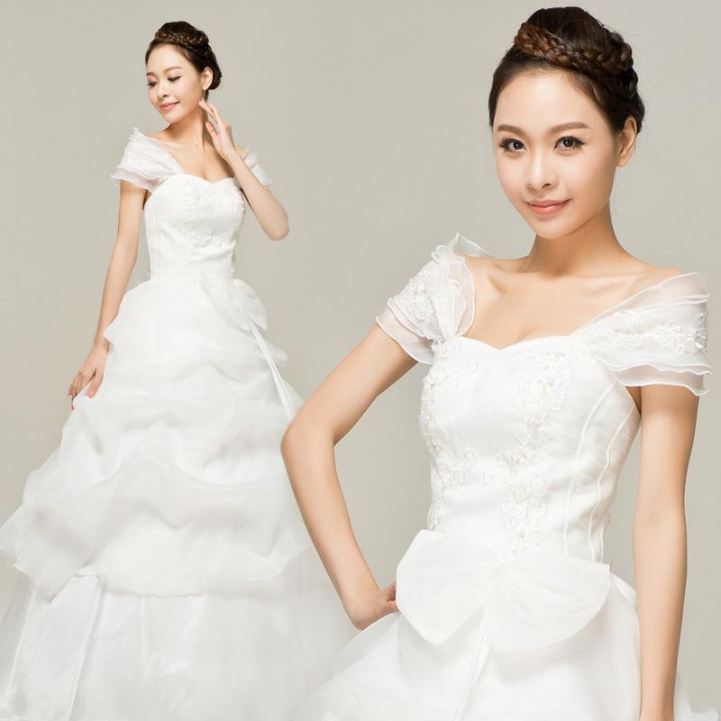2013新款韩版正品公主齐地白色婚纱千色新娘礼服 双肩婚纱