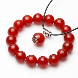 天然正品巴西红玛瑙手链送吊坠本命年水晶饰品礼物男女