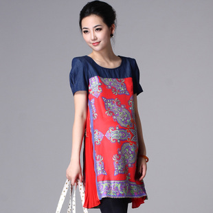 Oubuyanuo 2012 loose silk festive maternity dresses summer fashion dress medium-term pregnant women 208