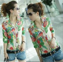 2014 Spring Fan Broken Printing and Original New Model Retro Self-cultivation Blouse Top Grade Chiffon Short Sleeve Shirt