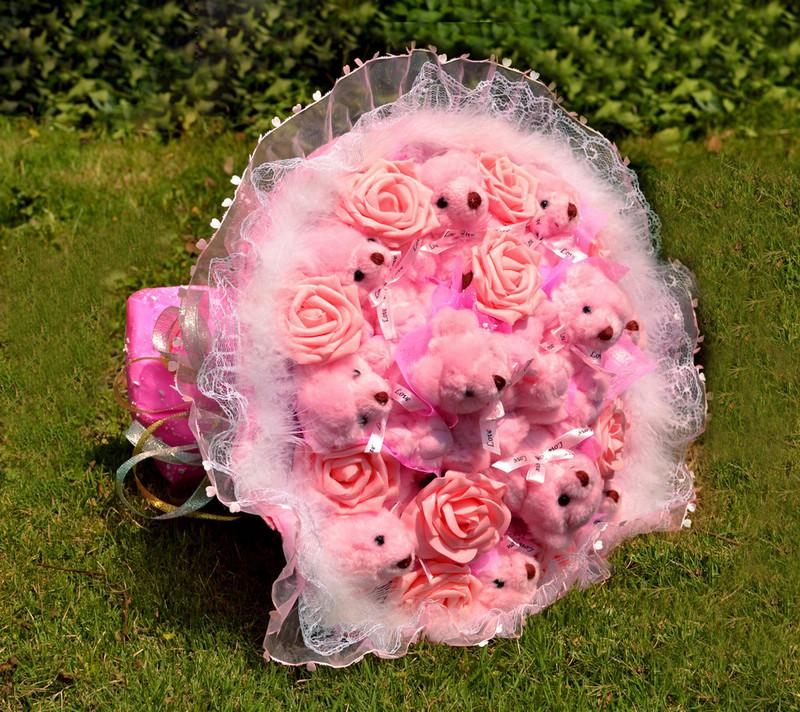 卡通花束11只粉色关节熊泰迪熊公仔花娃娃玫瑰花束生日创意图片